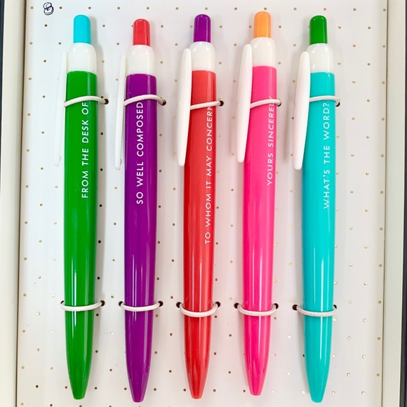 Kate Spade So Well Composed Set Of 5 Ink Pens NWOT
